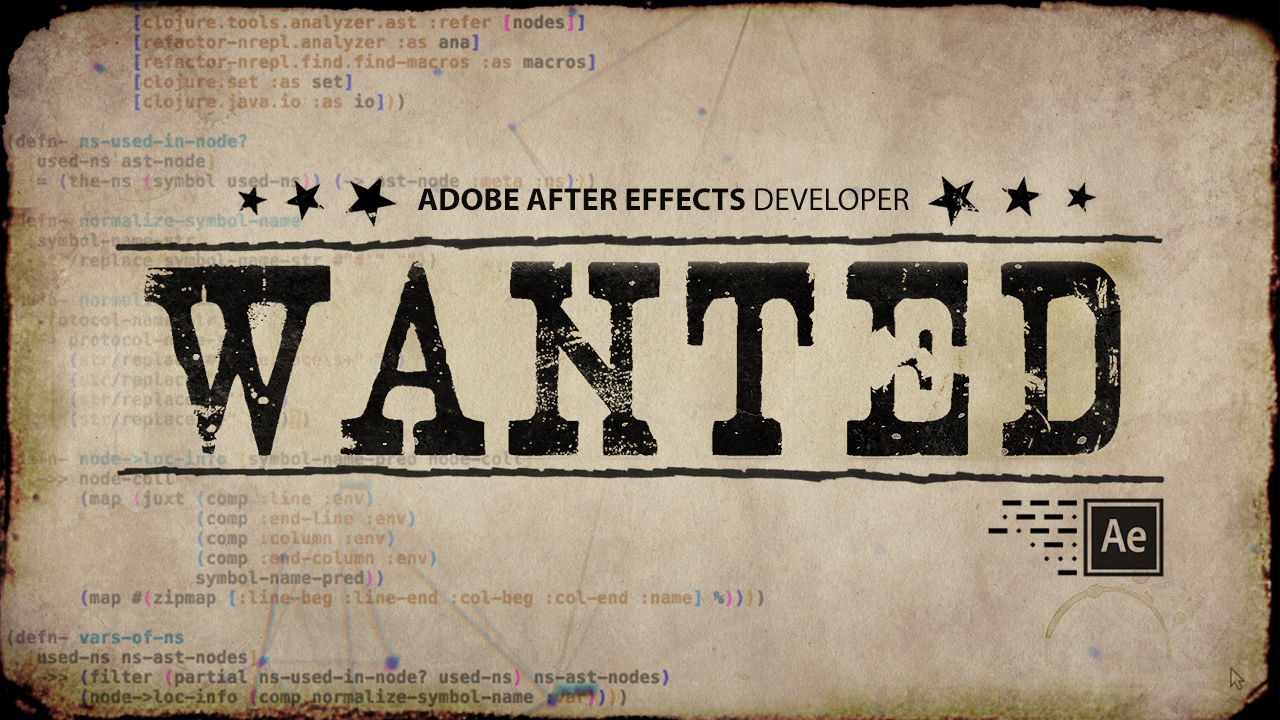 After Effects Developer Wanted